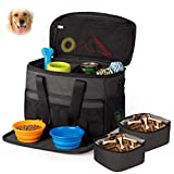 Unicreate Pet Travel Bag for Dog&Cat -Weekend Tote Organizer Bag for Dogs Travel -Incudes1xDog Tote Bag,2xDog Food Carriers Bag,2xPet Silicone Collapsible Bowls.(Black)