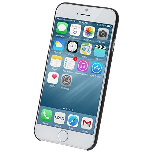 doupi UltraSlim Funda para Apple iPhone 6 6S AllClear Case transparente Negro - Fibra Carbono