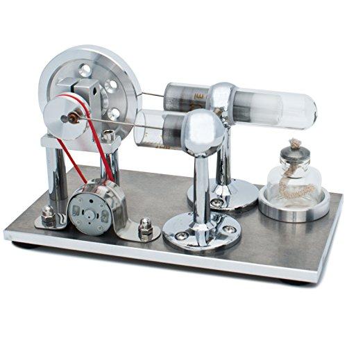 DjuiinoStar Hot Air Stirling Engine, Electricity Generator (Light up LED), Educational Toy (Assembled) DHA-BG-402