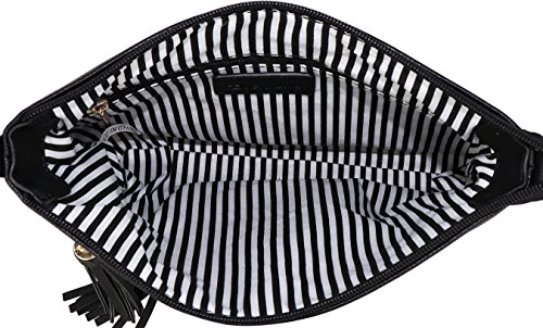 B BRENTANO Vegan Multi-Zipper Crossbody Handbag Purse with Tassel Accents (Black 1) by B BRENTANO (Image #5)