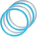 4 Pack Silicone Sealing Rings for Pressure Cooker Pot, FineGood 2 Colors 5/6qt Size Sweet and Savory Edition Accessory for Pressure Cooker - Blue, Clear