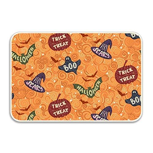 yyoungsell Halloween Pumpkin Hat Entrance Rug Rubber Floor Mats Washable Doormat Shoe Scraper For Home ()