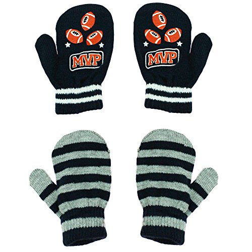 Little Me 2 Pack Stretch Boys Winter Mittens MVP Football Navy Grey Toddler 2T-4T
