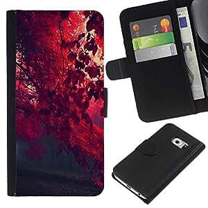 Red otoño - la tarjeta de Crédito Slots PU Funda de cuero Monedero caso cubierta de piel Para Samsung Galaxy S6 EDGE (NOT S6)