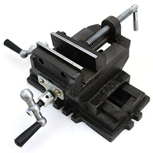 GHP 5''x9'' Base 7-Mounting Slots 4'' Cross Slide Drill Press Vise w 2'' Swivel Handles by Globe House Products
