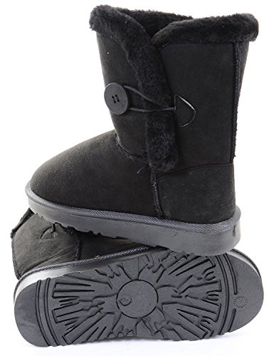 Women's Calf Funky Flat Ankle Fourever Button Boots Black Fur Vegan Faux Shearling Mid TqOg5BnxU