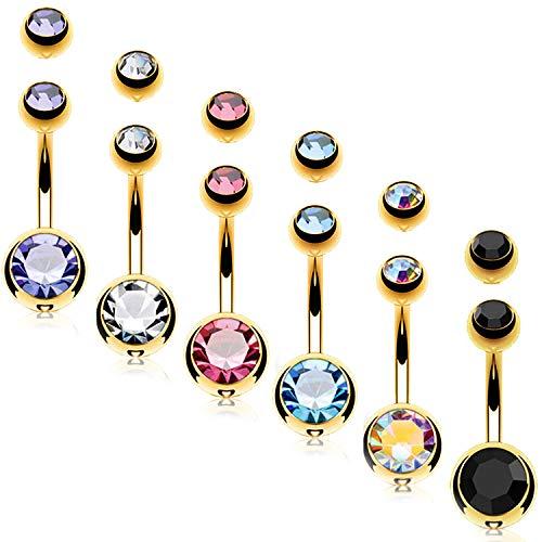 BodyJ4You 6PC Belly Button Rings 14G Goldtone Steel Double CZ Navel Banana Girl Women Jewelry Set