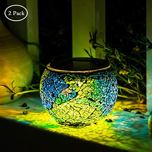 - Solar Glass Ball Table Lamp Mosaic Lights 2 Pack Waterproof Night Light for Home, Garden, Patio Decoration,Ideal Gifts (Multicolor)