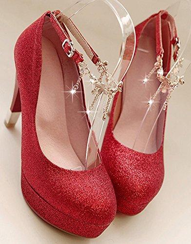 Idifu Femmes Sexy Paillettes Pendentif Cheville Sangle Pompes Talons Hauts Chaussures Rouge