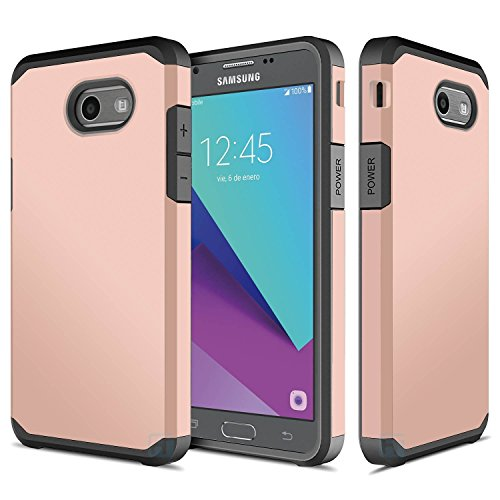 Galaxy J7 V, Galaxy J7 Prime, Galaxy J7 Perx, Galaxy Halo, Galaxy J7 Sky Pro, Galaxy J7 2017, ATUS Hybrid Dual Layer Slim Fit Case with Tempered Glass Screen Protector (Rosegold/Black)