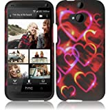 Cell Accessories For Less (TM) For HTC One M8 Rubberized Design Cover Case - Colorful Hearts + Bundle (Stylus & Micro Cleaning Cloth) - By TheTargetBuys