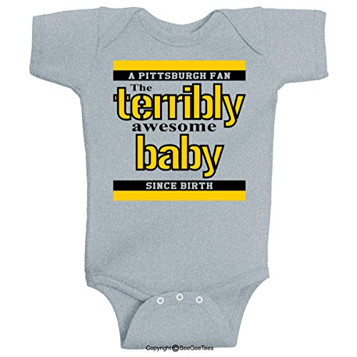 (BeeGeeTees Pittsburgh Terribly Awesome Baby Parody Funny One Piece (6 Months, Gray))