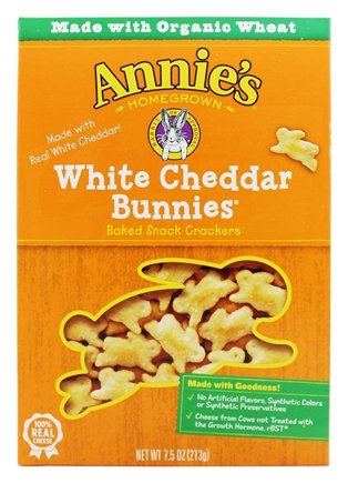 Annie's - Bunnies All-Natural Baked Snack Crackers White Cheddar - 7.5 oz.pack of 2