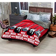 Music Guitar Teen Boys Blanket with Sherpa Twin