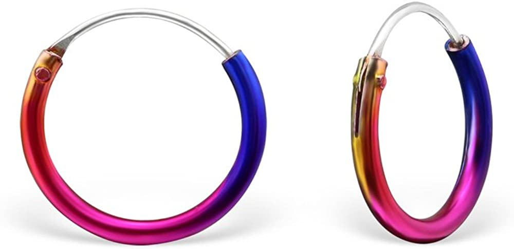 Small Size 12mm Rainbow Sterling Silver Sleeper Hoop Earrings for Girls by Kate Benson