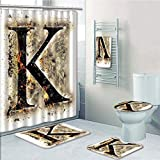 Bathroom 5 Piece Set shower curtain 3d print Multi Style,Letter K,Smoked Letter K Alphabet in Blaze with Grunge Design Ignited Writing Symbol Decorative,Tan Black Orange,Bath Mat,Bathroom Carpet Rug,N