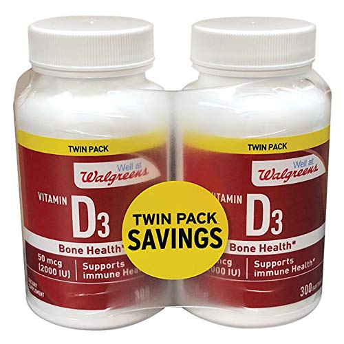 Walgreens Vitamin D3 50 mcg 2000 IU Softgels 300 ea x 2 Pack