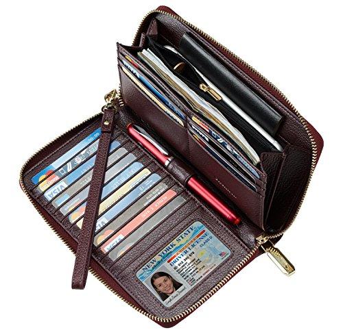Maroon Phone - Chelmon Womens Wallet Geunine Leather RFID Blocking Purse Credit card Clutch (genuine leather purple)