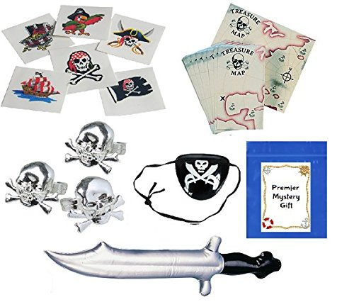 Pirate Party Favors Set for 12 ( Includes:Pirate Knives, Maps, Rings, Eye Patches, Tattoos & Treat Bags) (Peter Pan Boat compare prices)