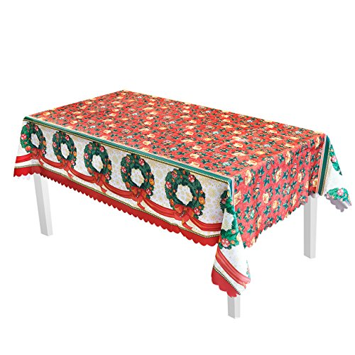 Juvale Christmas Tablecloth - Christmas Wreath, Poinsettia, Christmas Bell Design - Essential Xmas Holiday Decor, 57.5 x 77 Inches ()