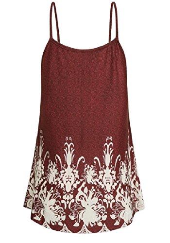 Coolred-femmes Sangle Sur La Taille Camisole T-shirts Imprimés De Base Robe Courte Rouge Vin