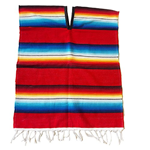 Authentic Mexican Poncho For Youth - Fire And Ice Colors Sarape - 30