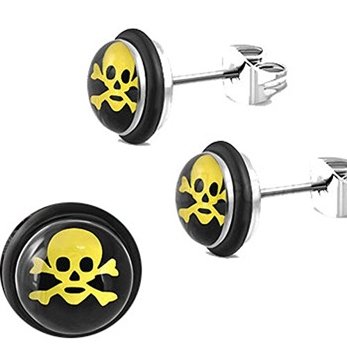 O-ring Earring (7mm | Stainless Steel 3-tone Pirate Skull Crossbones Circle Stud Biker Earrings w/ O-Rings)