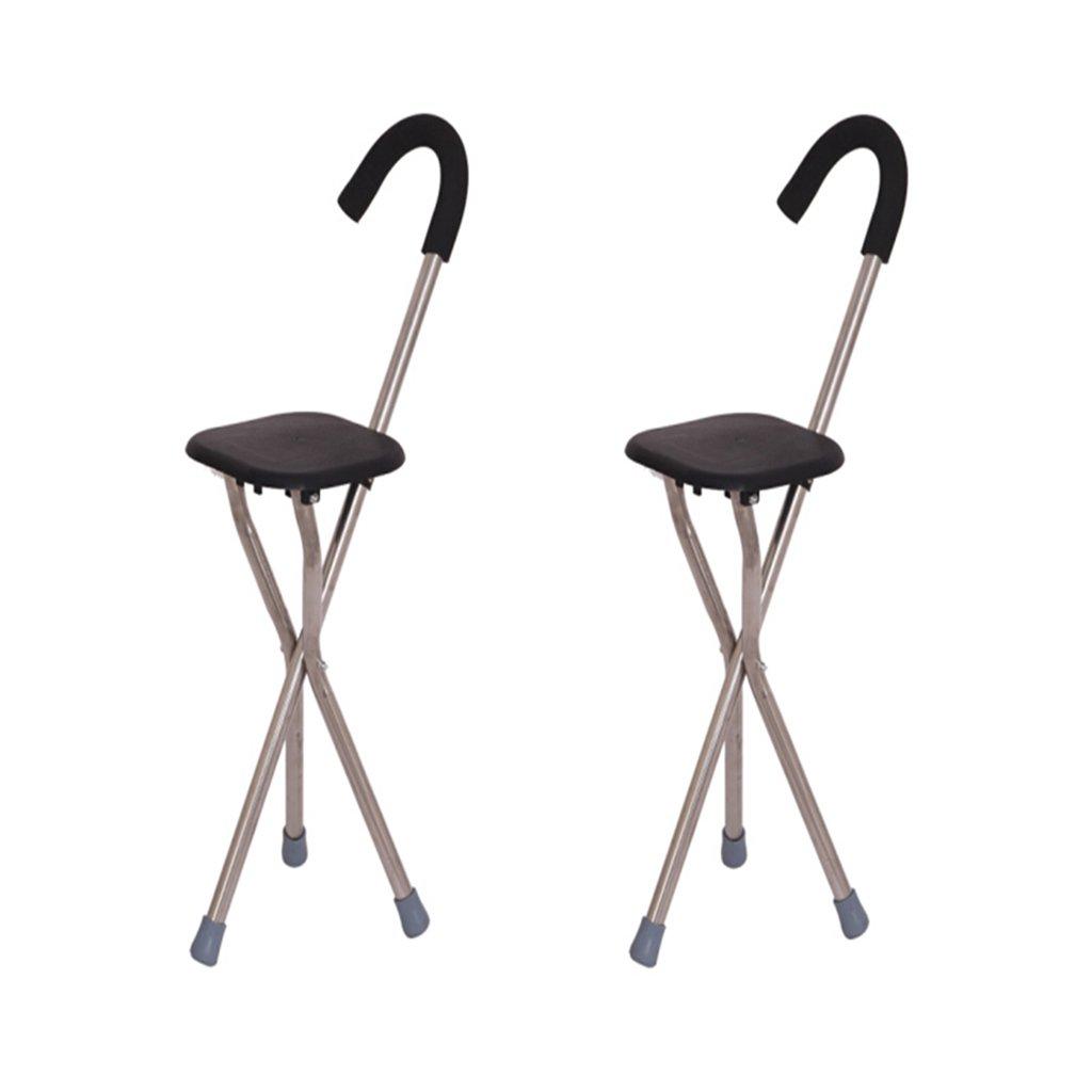 NUBAO ウォーキングスティック高齢者折りたたみチェア/スツール杖アルミウォーキングスティック5色を保持フォームハンドルの長さ85 Cm(33.46インチ) (色 : E, サイズ さいず : 二) B07CQSQRY6 E 二