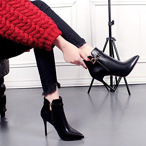 KHSKX-Sexy High Heel Boots Botas Están Bien Con Hebilla De Metal Cremallera Lateral Martin Botas El Otoño Y El Invierno Bota black
