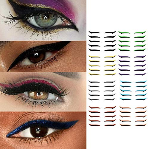 Stickers for Eye's Makeup, 6 Pairs Reusable Eyeliner Stickers Self-adhesive Eye Line Strip Sticker, Easy & Quick Eyelid Makeup Tools, Makeup Tape Supplies for Daily Party Cosplay 6 Pair (40pairs,H)