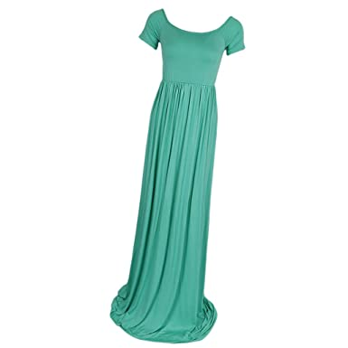 7a89f1439 P Prettyia Fashion Pregnant Womens Cotton Off Shoulder Short Sleeve Maxi  Dress Maternity Gown Photography Dress White Blue Green - Green