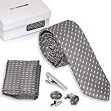 Bundle Monster 4pc Matching Design Pattern Mens Suit Fashion Accessories Set - Dashed Gray