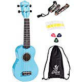 Alida Basswood Ukulele Kit Handmade Blue Color Playable Soprano Ukulele Bundle with a Ukulele Bag, a Ukulele Strap, a set Spare Ukulele Strings and 3pcs Ukulele Picks