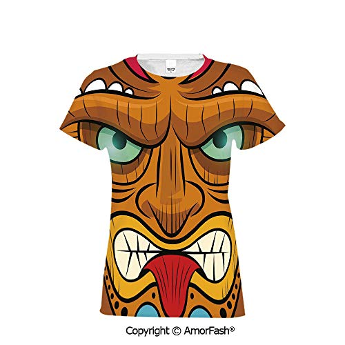 Women's Summer Casual T Shirt Dresses Short Sleeve,Tiki Bar Decor,Cartoon Style (Best Juice Bars Los Angeles)