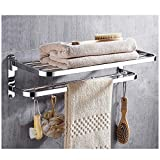 Wantacme Stainless Steel Bathroom Shower Towel Rack, [No Drilling available] 23 Inch Wall Mounted Double Bars SUS304 Stainless Steel Foldable Towel Shelf for Bathroom Towel Rack with 4 Movable Hooks