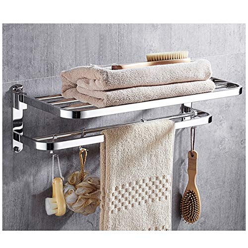 Wantacme Stainless Steel Bathroom Shower Towel Rack, [No Drilling available] 23 Inch Wall Mounted Double Bars SUS304 Stainless Steel Foldable Towel Shelf for Bathroom Towel Rack with 4 Movable Hooks by Wantacme