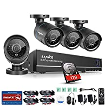 SANNCE 1080N 8CH Surveillance DVR Kits with 4pcs 720P CCTV Security Camera Outdoor, Night Vision, Smart IR-Cut,P2P Remote (1T HDD Included)