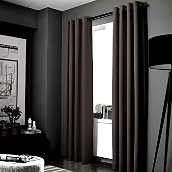 """GorgeousHomeLinen (NOA) 1 Solid Panel 100% Room Darkening Insulated Thermal Lined Blackout Window Grommets Curtain (95"""" Length, BROWN COFFEE)"""