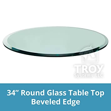 TroySys Tempered Glass Table Top, 1/4u0026quot; Thick, Beveled Edge, Polished