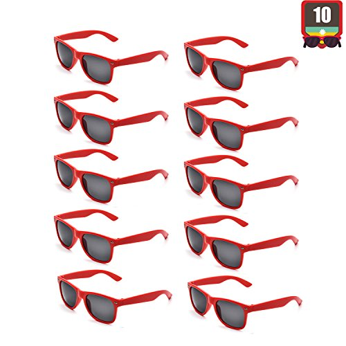 10 Packs Adult and Kids Neon Colors 80's Retro Style Sunglasses (Adult Red) ()