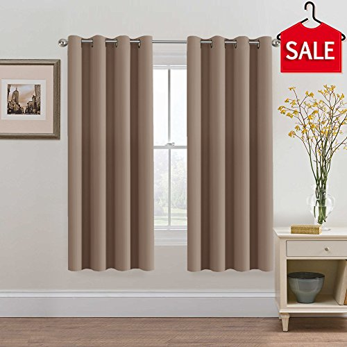 H.VERSAILTEX Premier Warm Taupe Curtains Blackout Thermal Insulated Antique Copper Grommet Panels - Window Treatment Drapes for Bedroom/Living Room - 52x72 Inch, Set of 2 Copper Window