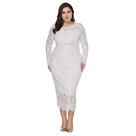 c370170879a Amazon.com  Women Long Sleeve Solid Vintage Floral Lace Plus Size Cocktail  Formal Pencil Swing Dress Toponly  Musical Instruments