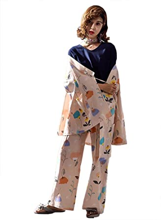 Mujer Algodón Kimono Conjunto de pijamas Señoras 3 piezas Suave Casual Ropa de dormir, M