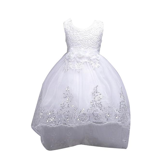 Vestido de Fiesta Niña Flor Encaje Lentejuelas para Boda Fiesta Ceremonia, Blanco, 4-