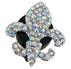 Iridescent Fleur De Lis Rhinestone Retractable Badge Reel / ID Badge Holder
