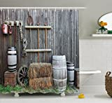 Country Style Shower Curtains Ambesonne Agriculture Shower Curtain by, Western Wooden Barn Countryside Bucolic Rural House Folk Vintage Scenery, Fabric Bathroom Decor Set with Hooks, 70 Inches, Grey Light Brown