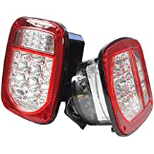 Bright Clear Lens Red Jeep TJ CJ YJ JK Replacement Stop Brake Turn Tail Lights with LED Illuminator on Left (Truck Trailer Boat)