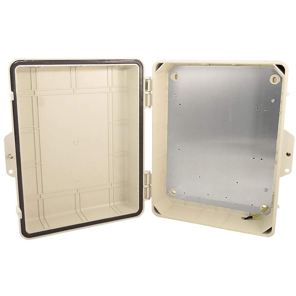 Altelix Tan NEMA Enclosure 14x11x5 (12'' x 8'' x 4'' Inside Space) Polycarbonate + ABS Weatherproof Tamper Resistant NEMA Box with Aluminum Equipment Mounting Plate