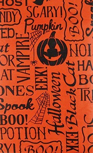 Halloween Scary Words and Phrases Vinyl Flannel Back Tablecloth (Orange, 52