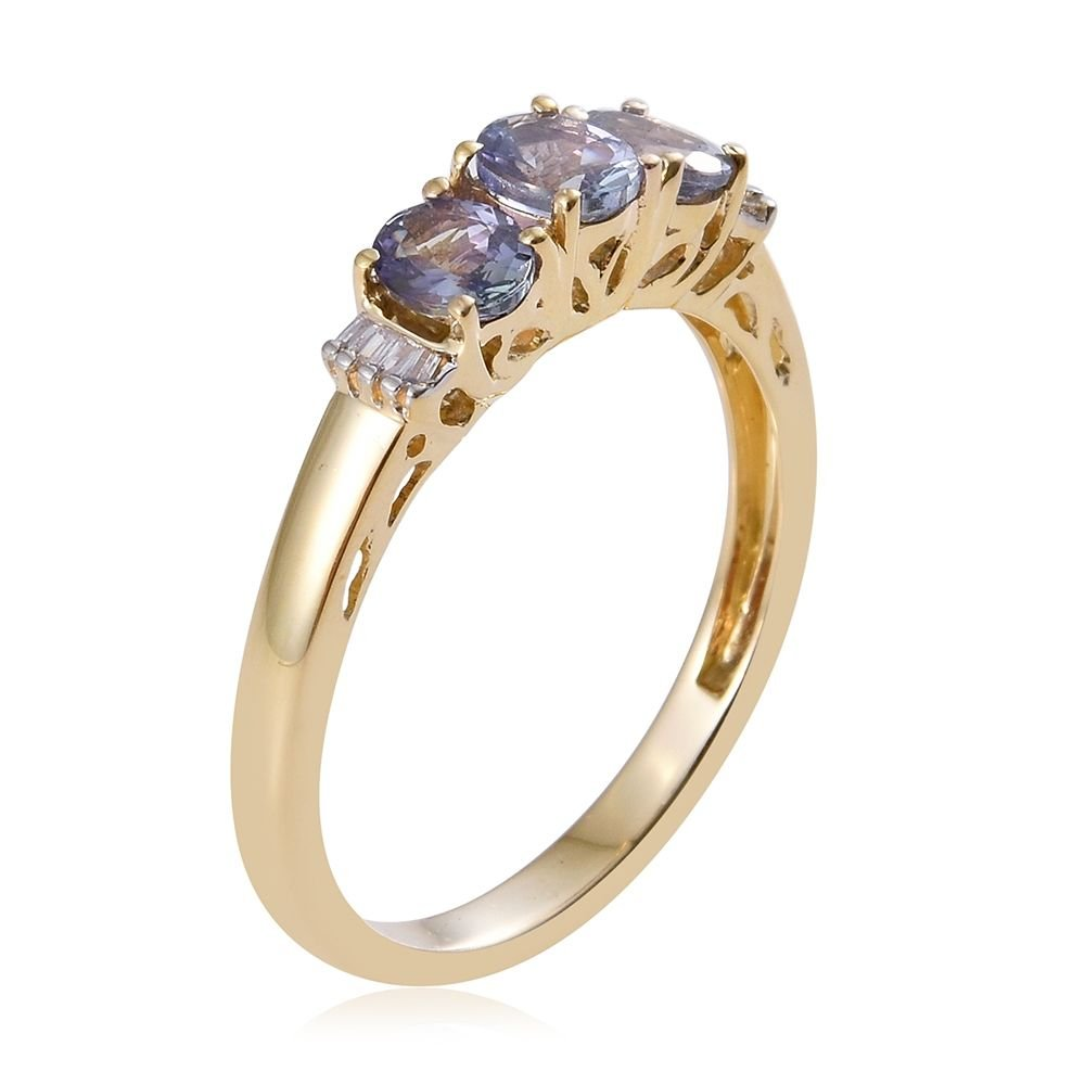 tanzanite gold ring cut rose blue peacock engagement green media oval